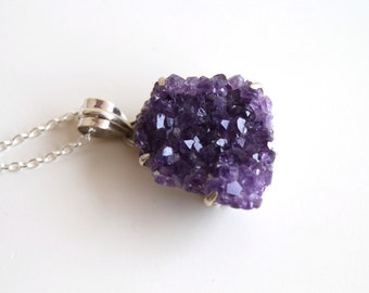 Amethyst Pendant Necklace. Natural Amethyst Necklace. 925 Sterling Silver Necklace