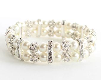 Wedding bracelet, bridal bracelet, pearl bracelet, pearl cuff bracelet, wedding jewelry, 2 strand bracelet