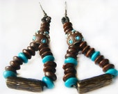 Turquoise and brown earrings, Hippie earrings, Gypsy earrings, Valentines Day, Valentines Gift, Last minute gift, Ethno earrings