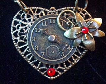 Steampunk Heart and Clock Necklace - Valentine's Day