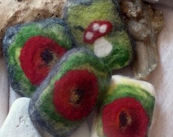 Felt soap in the poppy flower motif