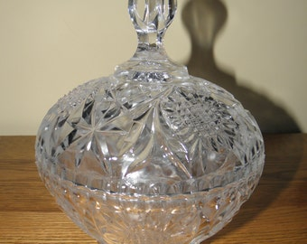 Pretty Pressed Glass Covered Candy Dish