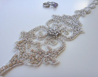 Crystal Bridal Sash Belt, Rhinestone Bridal Belt, Beaded Bridal Belt, Crystal Bridal Belt