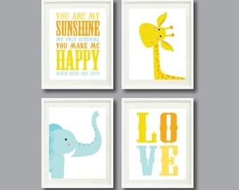 You Are My Sunshine-Set of Four Art Prints-8x10-Kids Room-Nursery-Home Decor-Orange-Yellow-Blue-White-Giraffe-Elephant-Love-Modern Wall Art
