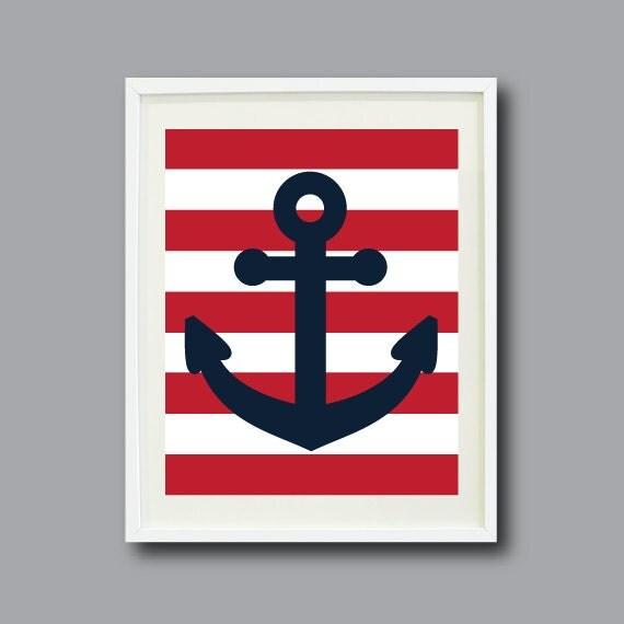 Nautical Anchor Art 8x10 Nursery Kids Room Home Decor Navy