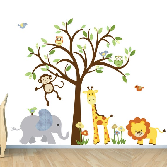 Kids room wall decal safari animal decal nursery wall decal for Baby jungle mural