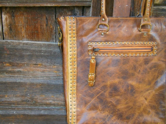 Brown Shoulder Bag,15 inch Laptop Bag, Tote Bag,Handmade Bag, Genuine leather Shoulder Bag,100% made in Transilvania