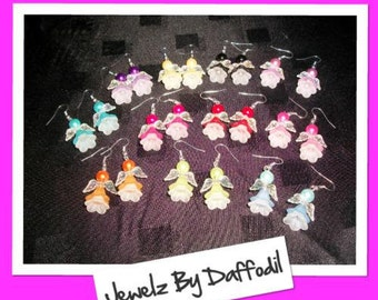 ANGEL EARRINGS - Girls/Ladies - 11 Colours to Choose From - For Pierced Ears