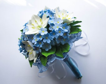 Wedding bouquet with white ornithogalum and forget-me-not, polymer clay.
