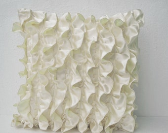 Decorative pillow in Ivory White Satin with Ruffles, Decorative cushion cover,  18X18 throw pillow,  Ruffle throw cushion,  Gift pillow