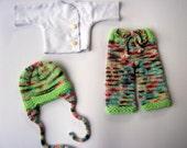 Nurtured Baby Waldorf 14 inch scrappy longies and white wrap shirt layette
