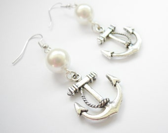 Nautical anchor earrings with pearl