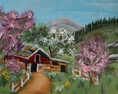 ACEO Art Painting Barn In Summer landscape Mountain Flowers Trees