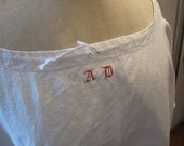 Antique Vintage French Plus Size Linen Nightgown /w red AD monogram Homespun