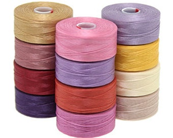 Superlon Size AA Color Mix 3 (Sunset) - 12 Bobbins, Sunset Summer Colors - Bead Cord, Bead Stringing Thread