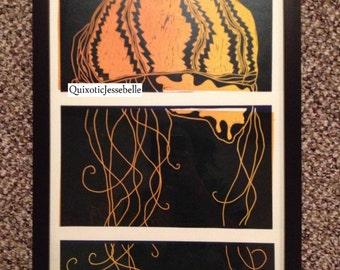 3-part Jellyfish Linocut (unframed)