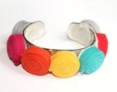 Handmade Colorful Rosette Cuff Bracelet - Adjustable