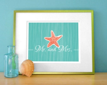 Tropical Starfish Bathroom Art Print / Bath Wall Decor - Mr. and Mrs. Wash Your Hands in Coral, Aqua, Beige 8x10 Digital Print