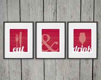 Dining Room Prints Wall Art - EAT & DRINK - Fork Knife Spoon Glass - Set of 3 8x10 Digital Dining Room or Kitchen Decor - Wine Red