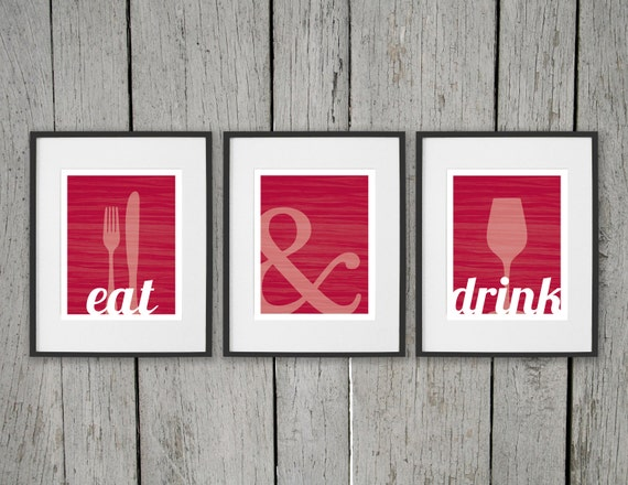 Dining room prints wall art eat drink fork knife spoon for Dining room posters