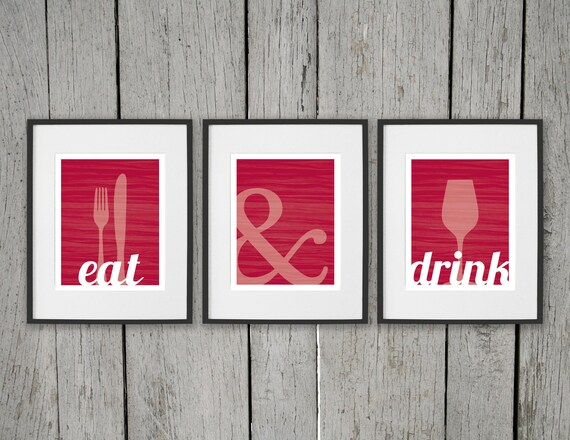 Dining room prints wall art eat drink fork by daphnegraphics for Wine and dine wall art
