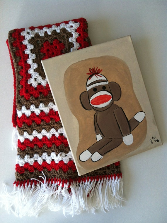 Sock monkey canvas and 3X3 afghan gift set