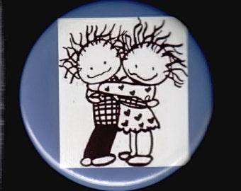 Friendship Hug Pinback button or magnet