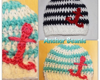 Pdf Crochet Striped Beanie with Anchor. Newborn - Adult sizes. Permission to sell finished beanies.