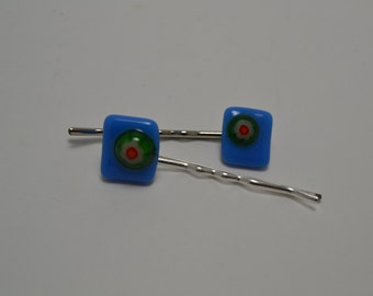 Fused Glass millefiori Bobby Pins,  pinup bobby pin,  blue bobby pins
