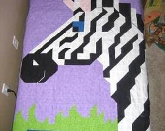 Zebra Twin Size Quilt Pattern