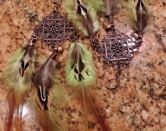 Steampunk inspired green & brown feather earrings