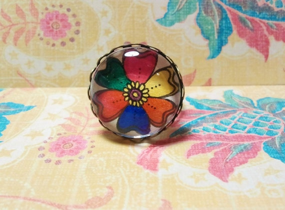 Rainbow Flower Ring