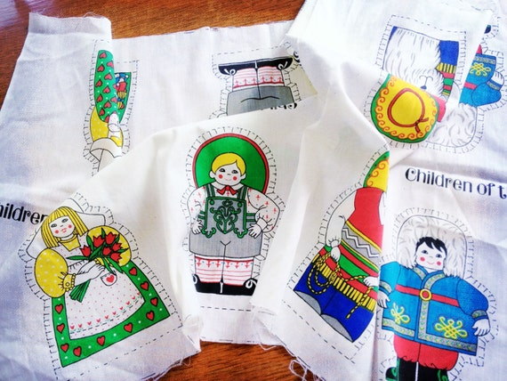 Items similar to vintage cut out fabric pillow dolls the for Children of the world fabric