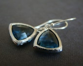 Royal Blue, glass dangling earrings with sterling silver earwires