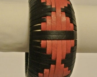 Leather Bangle Woven in a Spaced Hourglass Pattern
