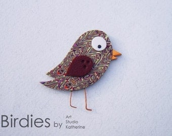 Birdie cute brooch, Silhouette pin, Polymer clay bird, Creative design, Brown love bird, Cute gift for girl, Cool birdie pin, Handmade bird