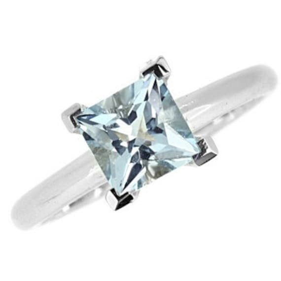 princess cut blue aquamarine solitaire engagement ring 14k