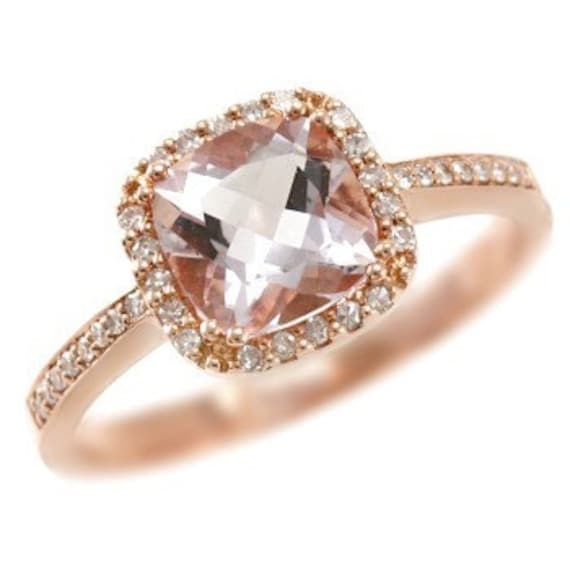 Pink Diamond Fashion Rings Halo Cushion Cut Pink Amethyst