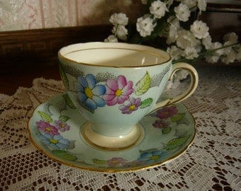 Vintage Foley Bone China Hand Painted Cup and Saucer Floral Design