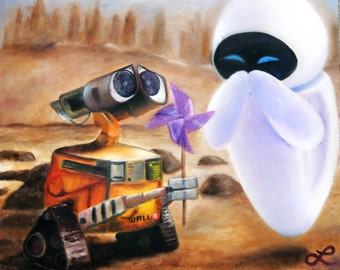 Wall-E and Eve Print of Original Oil Painting by Lindsey - Disney Pixar - Robots in Love - Love Story - Robots with Emotions