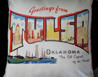 Greetings From Tulsa Vintage Pillow Cover