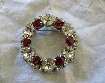 Vintage Rhinestone Brooch Scarlet & Diamond