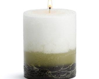 "Stone Candles 3"" x 3"" Fresh Pillar Candle, Green Tea & Fig"