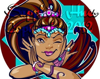 "19:  ""Wink variation 2""  Belly Dance Clip art/Stock image for digital or print use."