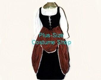 Red SCOTTISH Lass RENAISSANCE Gown Dress PLUS Size Halloween Costume Adult Womens Size 1X 2X 3X 4X 5X - 6 pcs New
