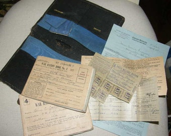 1940s Purse With War Ration Stamps Books And Other Paper Items Original