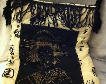 Pretty white geisha print cotton bag