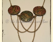 Reserved - Metal Leaf Embossed Necklace and Earring Set