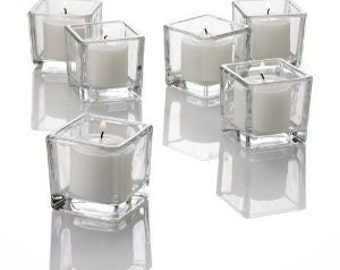 Clear Square Votive Candle Holders