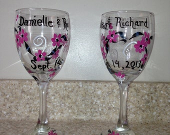 Hand painted wine glasses for bride and groom